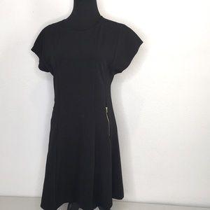 Banjul little black dress, silver zipper details